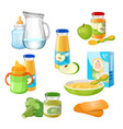 organic food for babies poster juices and vector image