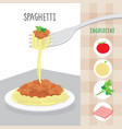 international food spaghetti ingredient cartoon vector image