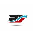 27 anniversary wave logo vector image vector image