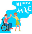 banner happy disabled people dancing vector image vector image