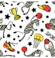 basketball game seamless pattern with doodle cute vector image vector image