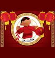 boy holding lantern celebrating chinese new year vector image vector image