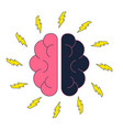 brain with electric thunderbolt flash brainstorm vector image