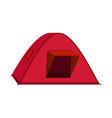 bright red tourist tent icon isolated on white vector image vector image