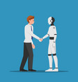 businessman shaking hand with ai robot vector image