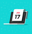 calendar date on laptop computer screen vector image vector image