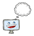 cartoon computer screen with thought bubble vector image vector image
