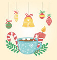 christmas card with chocolate cup and balls vector image vector image