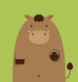 cute fat big brown horse vector image vector image