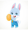 cute little bunny in denim overalls holds easter vector image vector image