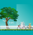 cute rabbits the gang happy in the garden vector image vector image
