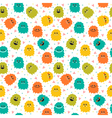 Cute seamless pattern with cartoon smiley monsters vector image vector image