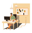 designer freelancer working from home student by vector image