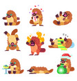 emotional platypus character set vector image
