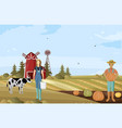 farmers couple working agriculture vector image vector image