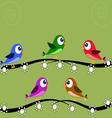Five birds green vector image vector image