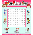Game template for word puzzle with many sports vector image