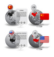 globes with map marker and state flags china vector image vector image