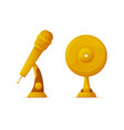 gold trophy cup in microphone and vinyl disc shape vector image vector image