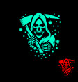 grim reaper deadly coronavirus concept symbol vector image