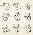 Hand drawn grumpy cats icons