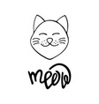 happy hand-drawn cat with lettering vector image vector image