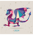 Happy new year 2024 creative greeting card with vector image vector image