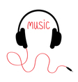 Headphones with red cord and word Music Card Flat vector image vector image