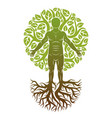 human being created as continuation of tree with vector image vector image