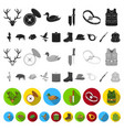 hunting and trophy flat icons in set collection vector image vector image