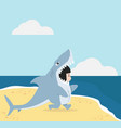 kid in shark costume with summer beach vector image vector image