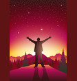 man figure with open arms on top of hills vector image vector image