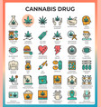 medical cannabis concept line icons vector image vector image