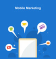 mobile marketing on blue background style vector image