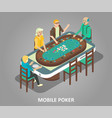 mobile poker concept isometric vector image
