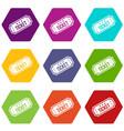 movie ticket icon set color hexahedron vector image vector image