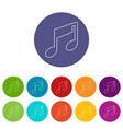 music note icons set color vector image vector image