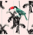 palm trees and toucan seamless background vector image vector image