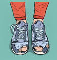 pop art old sneakers dirty old shoes footwear vector image