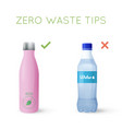 reusable water bottle instead of plastic bottle vector image