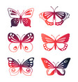set color butterflies isolated on white vector image vector image