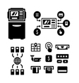 Set icons of ATM vector image vector image