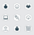 set of 9 web icons includes save data send data vector image vector image