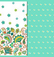 set of two horizontal seamless floral pattern with vector image