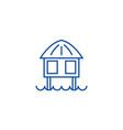 stilt house line icon concept stilt house flat vector image vector image