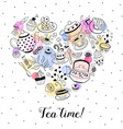 Tea time poster vector image vector image