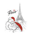 teddy bear and eiffel tower paris france vector image vector image
