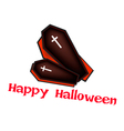 Two Black Coffins with Word Happy Halloween vector image vector image