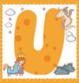 u alphabet letter for kids vector image