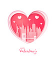 valentines card paper cut heart and new york vector image vector image